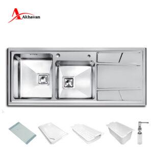 سینک ظرفشویی توکار مدل 302 اخوان 50*120 سری R25
