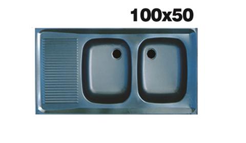 سینک ظرفشویی اخوان - مدل 100*50 دو لگنه براق